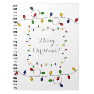 Colorful Merry Christmas Lights Notebook