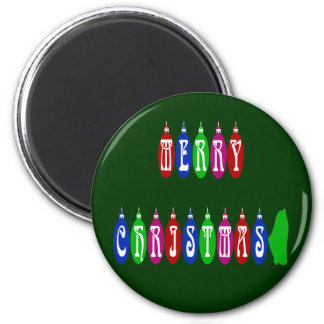 Colorful Merry Christmas Ornament Font Magnet