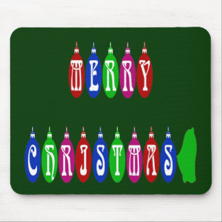 Colorful Merry Christmas Ornament Font Mouse Pad