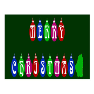 Colorful Merry Christmas Ornament Font Postcard