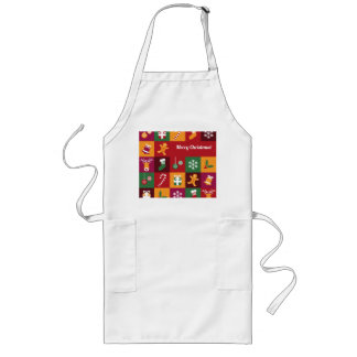 Colorful Merry Christmas Pattern Long Apron