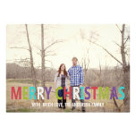 Colorful Merry Christmas Photo Flat Cards