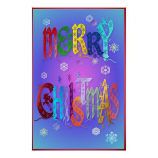 Colorful Merry Christmas Poster-large Poster
