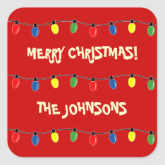 Colorful Merry Christmas Tree Lights Gift Tags at Zazzle