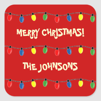 Colorful Merry Christmas tree lights gift tags Square Sticker