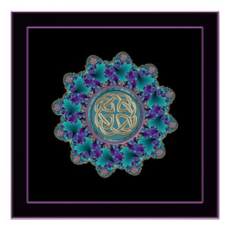 Colorful Metallic Celtic Knot Mandala Print