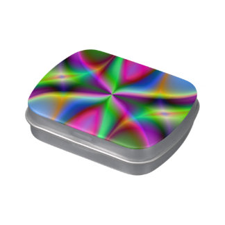 Colorful Metallic Fractal Lustre Jelly Belly Candy Tins