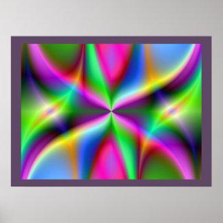 Colorful Metallic Fractal Lustre Poster