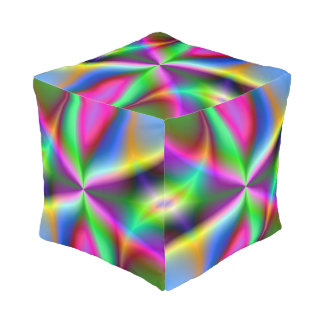 Colorful Metallic Fractal Lustre Pouf