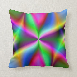 Colorful Metallic Fractal Lustre Throw Pillow