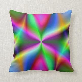 Colorful Metallic Fractal Lustre Throw Pillow