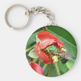 Colorful Metallic Green Bee Keychain
