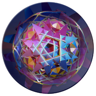 Colorful metallic orb porcelain plate