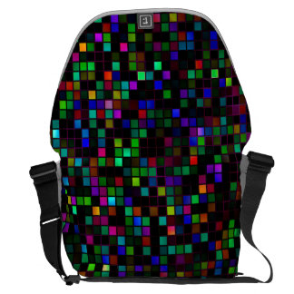 Colorful 'Meteor Shower' Squares Pattern Courier Bag