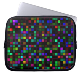 Colorful 'Meteor Shower' Squares Pattern Computer Sleeve