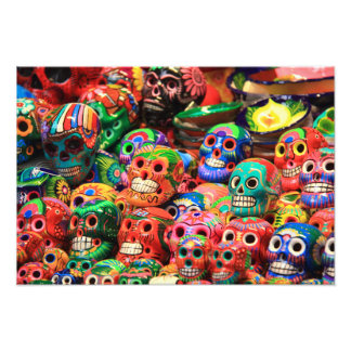 Colorful Mexican Day of the Dead ceranic skulls Photo Print