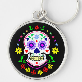 Colorful Mexican Day of the Dead Sugar Skull Keychain
