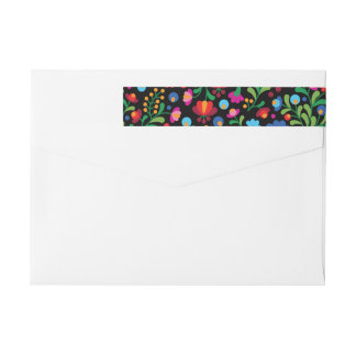 Colorful Mexican Embroidery Wrap Address Label