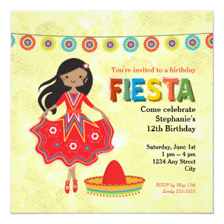 Colorful Mexican Fiesta Kids Birthday Party Card