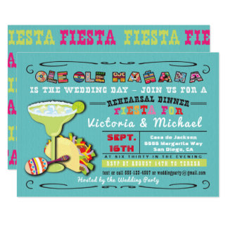 Colorful Mexican Fiesta Rehearsal Dinner Invites