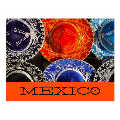Colorful Mexican sombreros Postcard