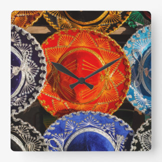 Colorful Mexican sombreros Square Wall Clock