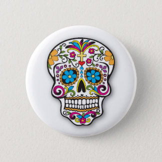 Colorful Mexican Sugar Skull Day of the Dead Pinback Button