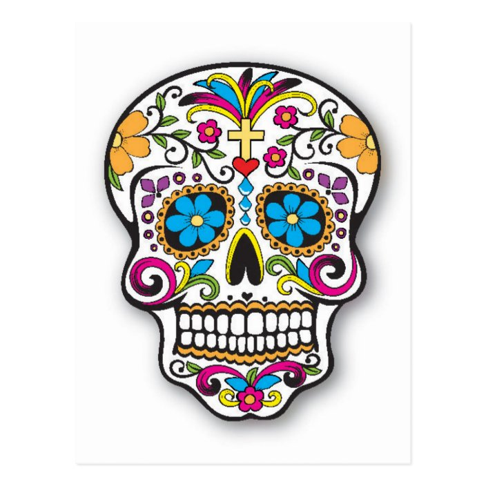 Colorful Mexican Sugar Skull Day Of The Dead Postcard Zazzle Com