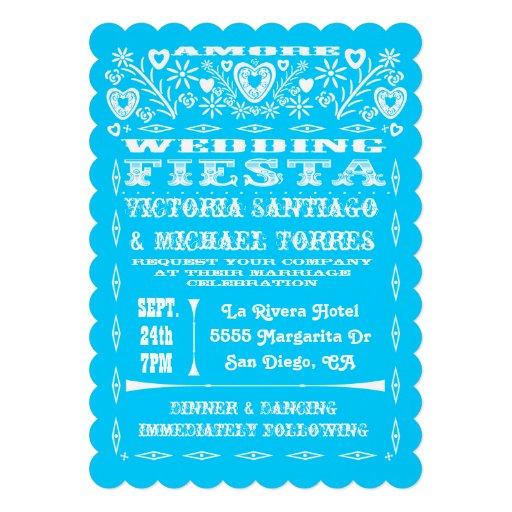 Colorful Mexican Wedding Papel Picado Invitation 5 X 7 Invitation Card