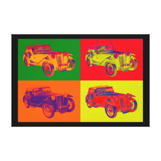 Colorful Mg Tc Antique Car Pop Art Canvas Print