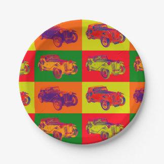 Colorful Mg Tc Antique Car Pop Art Paper Plate