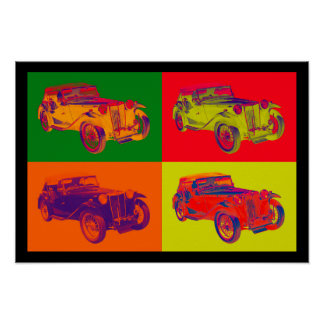Colorful Mg Tc Antique Car Pop Art Poster
