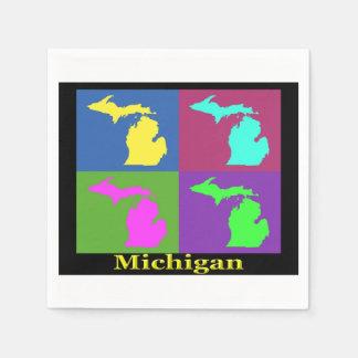 Colorful Michigan State Pop Art Map Paper Napkin