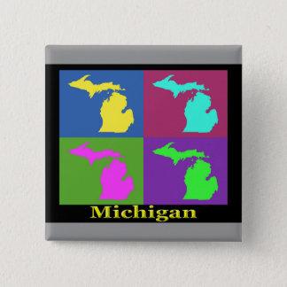 Colorful Michigan State Pop Art Map Pinback Button