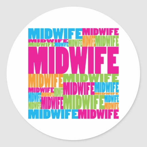 Colorful Midwife Round Sticker