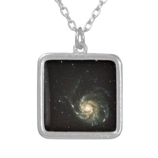 colorful milky way galaxy solar system square pendant necklace
