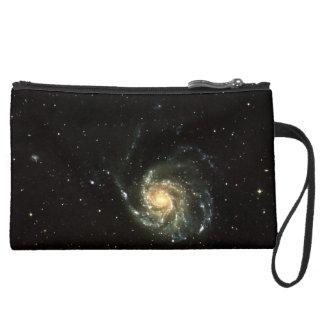 colorful milky way galaxy solar system suede wristlet wallet