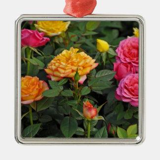Colorful miniature roses metal ornament