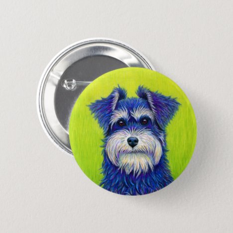 Colorful Miniature Schnauzer Cute Terrier Button