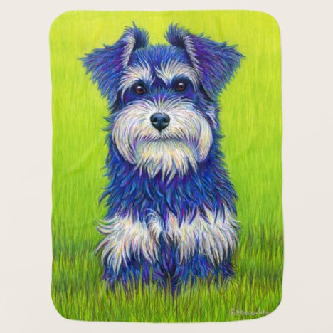 Colorful Miniature Schnauzer Dog Baby Blanket
