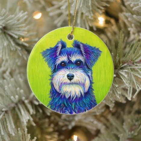 Colorful Miniature Schnauzer Dog Ceramic Ornament