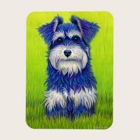 Colorful Miniature Schnauzer Dog flexible magnet