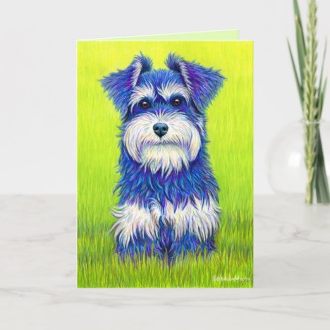 Colorful Miniature Schnauzer Dog Greeting Card