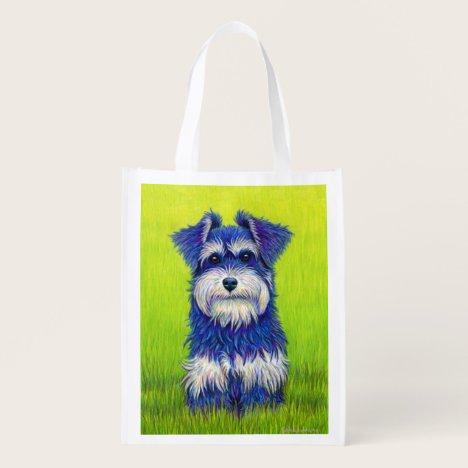 Colorful Miniature Schnauzer Dog Grocery Bag
