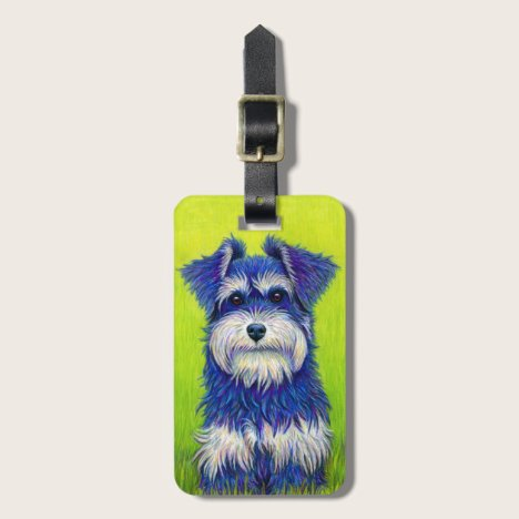 Colorful Miniature Schnauzer Dog Luggage Tag