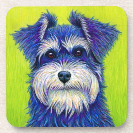 Colorful Miniature Schnauzer Dog Plastic Coasters