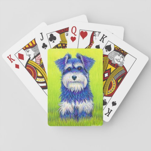 Colorful Miniature Schnauzer Dog Playing Cards