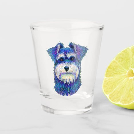 Colorful Miniature Schnauzer Dog Shot Glass
