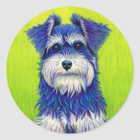 Colorful Miniature Schnauzer Dog stickers