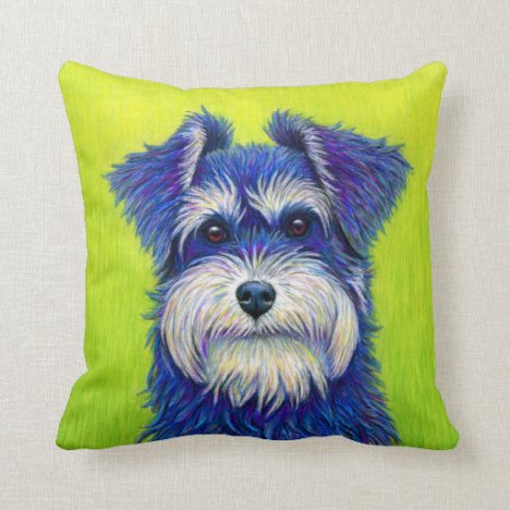 Colorful Miniature Schnauzer Terrier Throw Pillow